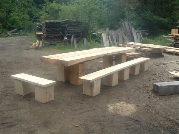 Timber frame picnic table in timber framinglog construction for benches when i made up some log tables i used 12x12 blocks for legs and a 2x14 plank for a seat watchthetrailerfo