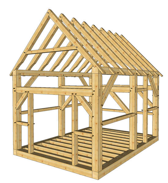 Timber Frame 12' x 16' shed with two doors plans for sale in