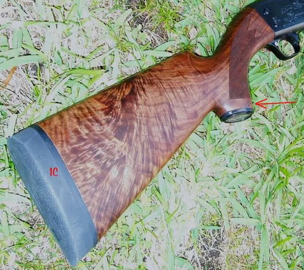 picture 1c is a gun stocked with wood from a wide crotch you can see that the feather covers the butt and the grain of the wood flows upward through the black walnut tree trunk