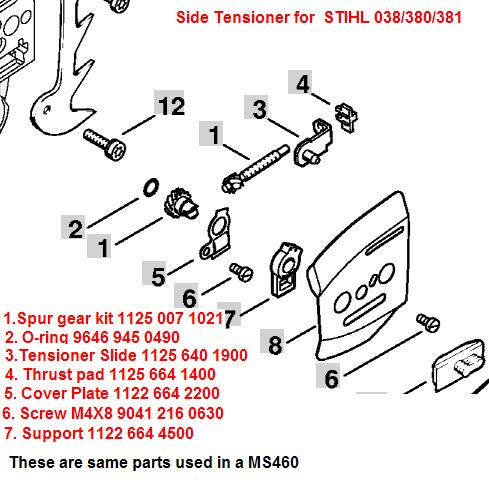 SIDE_TENSIONER stihl 038 oiler  at crackthecode.co