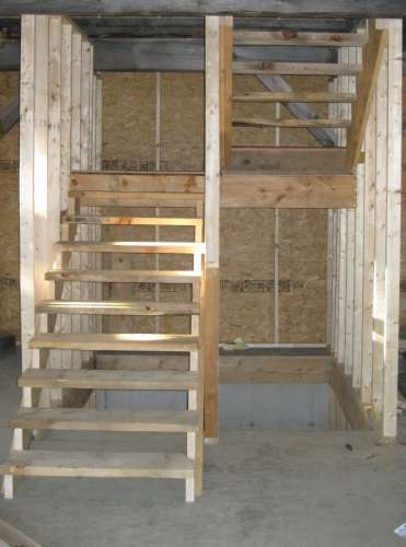 Shad, Here Is What I Did In A Similar Situation. I Hung The Stringers Off  Of 2x4s So I Could Begin Dropping The Stairs Sooner In A Tighter Space And  Can ...