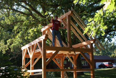 10 x 12 timber frame shed raising the frame