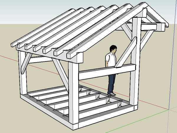 Wood Shed Idea in Timber Framing/Log construction