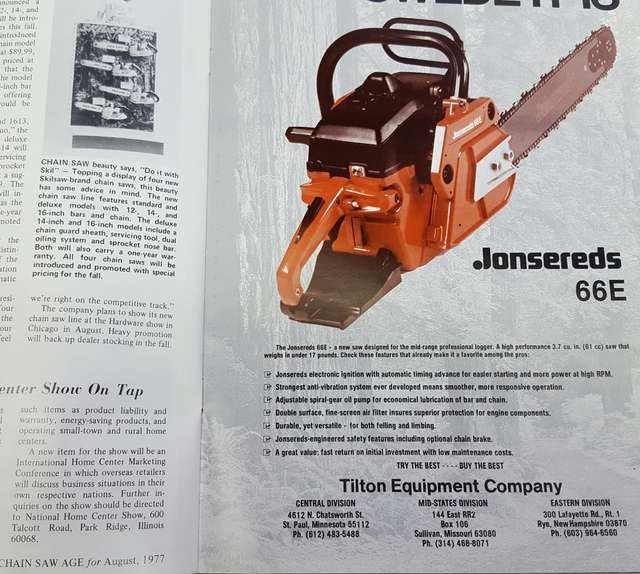 Re need some help to find some info older husky in chainsaws jonsereds only competition at the time was the outdated 621 introduced in 1970 the jonsereds 66e introduced in 1977 was the birth model of the 70e greentooth Gallery
