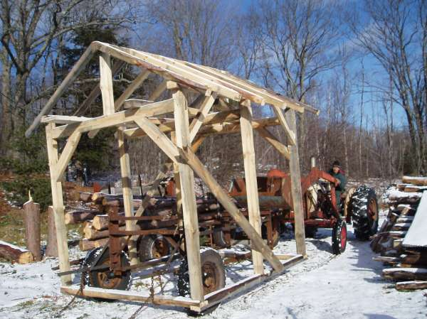 see pictures of my first timber frame shed i built it close to my house and moved it with a two wheeled log hauling trailer