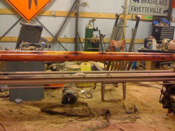 """It's a router lathe. The one I have currently can turn about 12"""" logs down to 11"""" posts/columns maximum. The next one I build will have both the router feed ..."""
