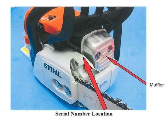 where do i find the serial number on a stihl chainsaw