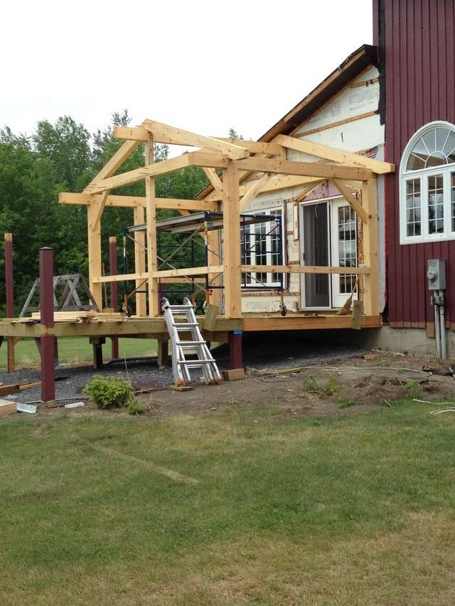 Attaching Open Gable Roof To House In Timber Framing Log