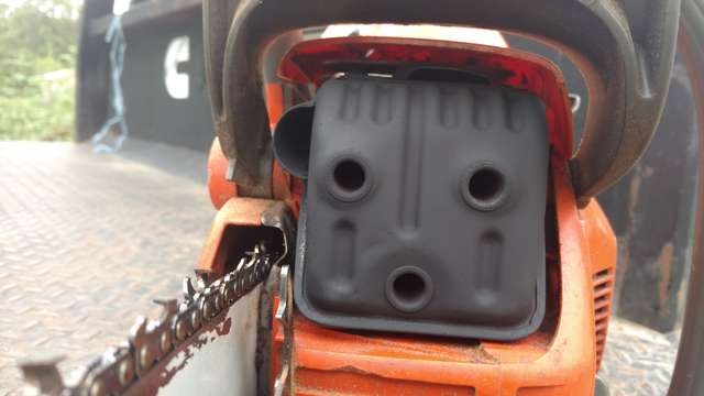 Modded muffler on Husky 455 in Chainsaws