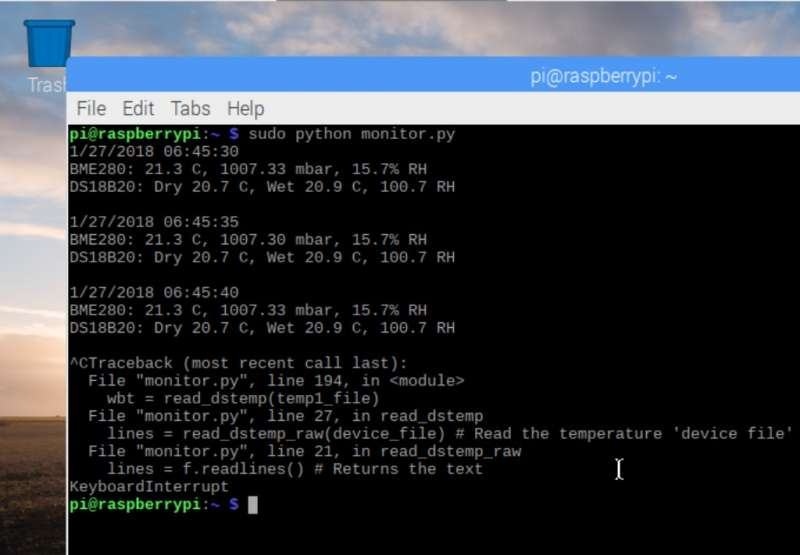 Kiln temp and humidity logger using the Raspberry Pi