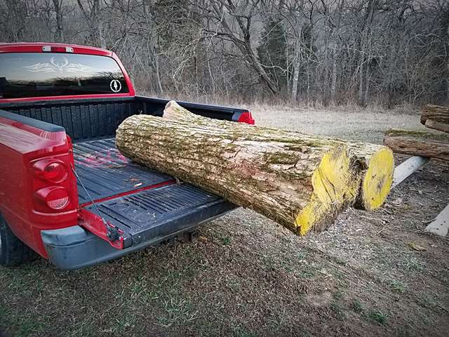 New Guy With Home Made Log Sled And Some Osage Logs In Forestry And